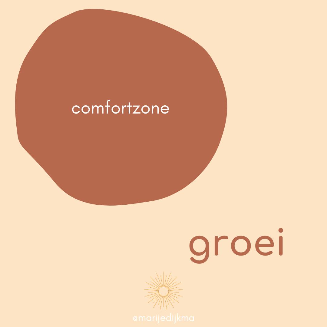Je ziet een comfortzone met daarbuiten groei